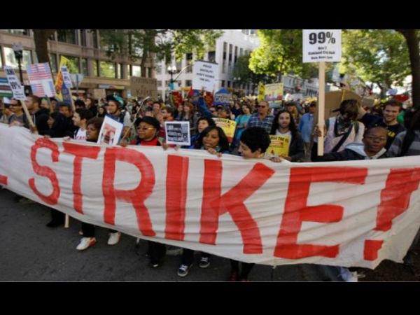 श्रमिक संगठनों की हड़ताल का दूसरा दिन